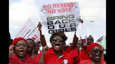 Women march Monday, May 5, in Chibok, Nigeria.