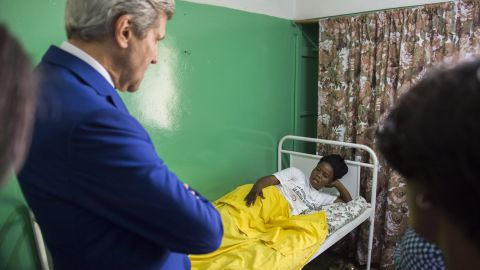 Kerry visits patients at the Fistula Clinic at St. Joseph's Hospital in Kinshasa, Congo, on Sunday, May 4, 2014.