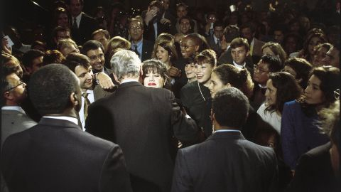"""Monica Lewinsky embraces U.S. President Bill Clinton at a Democratic fundraiser in Washington in October 1996. Lewinsky, the White House intern who had a sexual relationship with Clinton during his time in office, has finally <a href=""""http://www.cnn.com/2014/05/06/politics/lewinsky-clinton-affair/index.html"""">broken her silence</a> on the affair in a Vanity Fair article."""