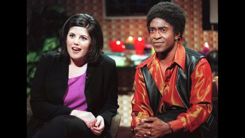 """Lewinsky appears in a """"Ladies Man"""" skit with Tim Meadows on """"Saturday Night Live"""" in 1999."""