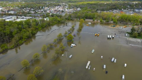 A flooded parking lot at the Laurel Park horse racing track is seen on May 1, 2014 in Laurel, Md. The Washington Metropolitan area has been hit hard with several days of constant rain, flooding several streams and rivers.