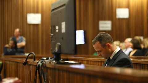 PRETORIA, SOUTH AFRICA - MAY 6: (SOUTH AFRICA OUT) (BY COURT ORDER, THIS IMAGE IS FREE TO USE) Oscar Pistorius in the Pretoria High Court on May 6, 2014, in Pretoria, South Africa. Oscar Pistorius stands accused of the murder of his girlfriend, Reeva Steenkamp, on February 14, 2013. This is Pistorius' official trial, the result of which will determine the paralympian athlete's fate. (Photo by Alon Skuy - Pool/Getty Images)