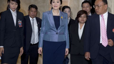 Thai Prime Minister Yingluck Shinawatra leaves the Constitutional Court in in Bangkok.