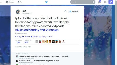 No, the NSA was not drunk when they sent this garbled tweet earlier this week.