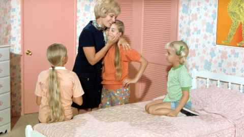 """There are the good, All-American moms. """"The Brady Bunch's"""" Carol Brady -- played by Florence Henderson -- always knew the right thing to say and had the warm hug to give. Her daughters -- Jan (Eve Plumb, left), Marcia (Maureen McCormick, center) and Cindy (Susan Olsen) -- looked up to her."""