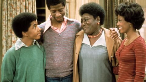 """""""Good Times' """" Florida Evans (Esther Rolle, third from left) provided a lot of love and discipline to her children, Michael, J.J. and Thelma (Ralph Carter, left, Jimmie Walker and BernNadette Stanis)."""