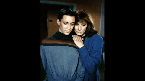 """Dr. Beverly Crusher (Gates McFadden, right) had the mixed blessing of being a mother on the starship Enterprise in """"Star Trek: The Next Generation."""" It could be hard taking care of the crew -- and a son, Wesley, played by Wil Wheaton. Of course, the precocious Wesley Crusher always saved the day."""