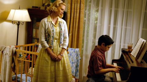 """Betty Draper -- later Betty Francis (January Jones, here with Marten Holden Weiner) -- tries to be a polished, grown-up mother on """"Mad Men,"""" but the years have shown that her glamorous sheen hides a brittle interior."""