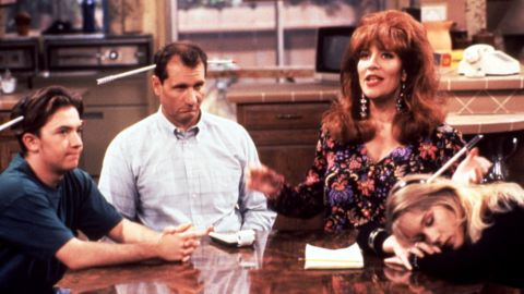 """Peggy Bundy of """"Married ... With Children"""" (Katey Sagal, second from right) was blowzy and materialistic, but she would stand with her family when threatened. Son Bud (David Faustino), husband Al (Ed O'Neill) and daughter Kelly (Christina Applegate) were usually firmly behind her."""