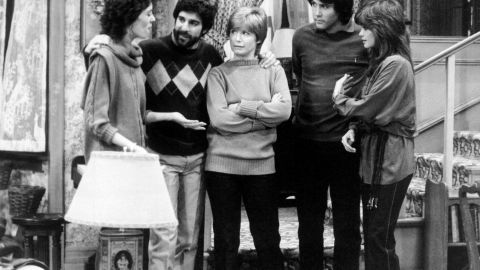 """""""One Day at a Time"""" featured a divorced single mother, a rarity on television in the 1970s. Ann Romano (Bonnie Franklin, center) handled two daughters (played by Mackenzie Phillips, left, and Valerie Bertinelli, right), their mixed-up lives (including husbands Michael Lembeck and Boyd Gaines) and a wacky super played by Pat Harrington."""