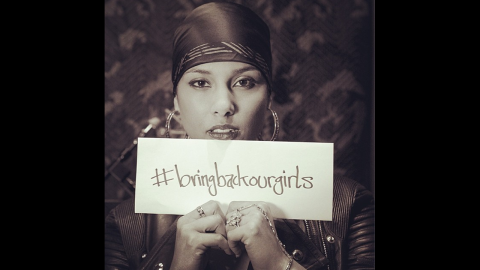 """American singer-songwriter Alicia Keys posted this photo on her <a href=""""http://instagram.com/p/ntsQUjwFsx/"""" target=""""_blank"""" target=""""_blank"""">Instagram account</a> with this message: """"I'm so saddened and enraged that these girls are not back where they belong! Safe at home and at school! Safe with their families! Safe to become the incredible leaders and powerful voices they are yet to be."""""""