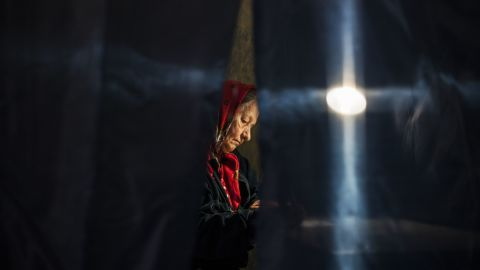 A Ukrainian woman votes at a polling station in Donetsk on May 11.