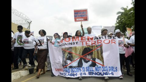 People march in Lagos, Nigeria, on Monday, May 12, to demand the release of the kidnapped schoolgirls.