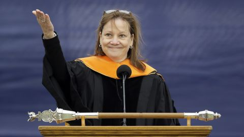 The General Motors CEO delivers the commencement address at the University of Michigan on May 3. Barra, the first woman to lead a major automaker, urged students to rethink old assumptions and correct injustices.