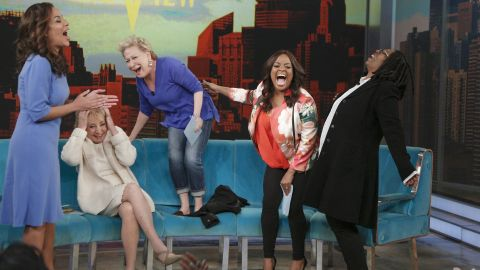 """Guest co-host Sunny Hostin, from left, Walters, guest Bette Midler, Sherri Shepherd and Whoopi Goldberg laugh it up during an episode of """"The View"""" on May 9. The show is known for the spirited conversations of its hosts and guests."""