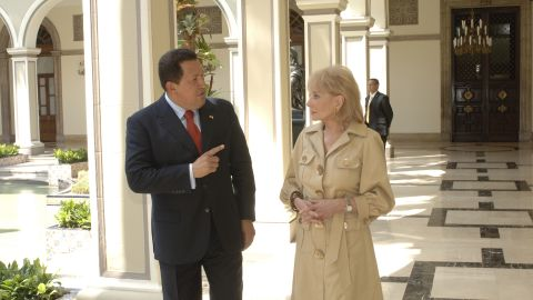 """In an exclusive interview on """"20/20,"""" Walters sat down with controversial Venezuelan President Hugo Chavez on March 14, 2007. In an <a href=""""http://piersmorgan.blogs.cnn.com/2013/03/05/barbara-walters-remembers-late-venezuelan-president-hugo-chavez-he-certainly-wasnt-the-most-physically-attractive-person/"""">2013 interview with CNN's Piers Morgan,</a> Walters noted that despite Chavez's immense power and influence, the President tried to portray himself as a martyr: """"He could be very warm. He was very vulnerable, complained that he'd been married twice, Piers, but had no time for a relationship because he was married to his country."""""""