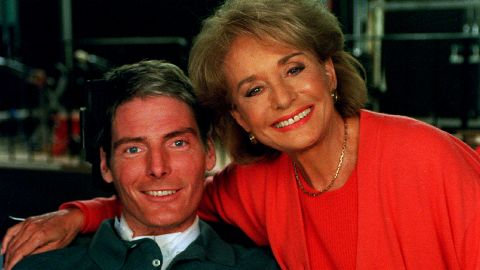 """In the first interview since a horseback riding accident left him paralyzed from the neck down, Christopher Reeve talked with Walters on September 28, 1995, for a special one-hour segment of ABC News' """"20/20."""" In the interview, which took place at the Kessler Institute for Rehabilitation in New Jersey, Reeve talks about what he remembers of his accident and how his life functioned afterward."""