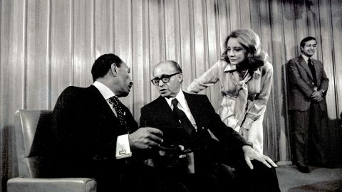 Walters held in a groundbreaking interview with Israeli Prime Minister Menachem Begin, center, and Egyptian President Anwar Sadat in Jerusalem during Sadat's first peace visit to Israel on November 20, 1977.