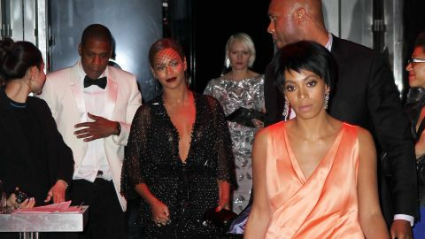 """Jay Z and sister-in-law Solange Knowles had an altercation at a Met Gala after-party May 5 that was caught on tape. It all went down in an elevator where the 27-year-old sister of Beyonce can be seen clawing and kicking at her brother-in-law as the """"Halo"""" singer looks on. It's unclear what caused the argument as there is no sound on the black and white surveillance video, shot after the group attended a soiree at the Boom Boom Room at New York's Standard Hotel."""