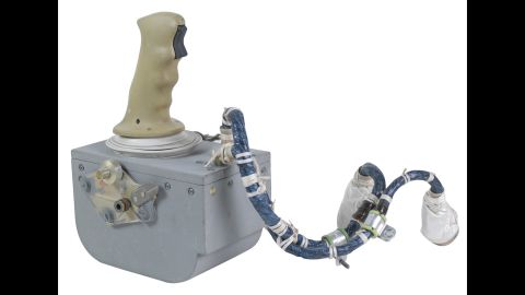 """Dozens of artifacts from Apollo lunar missions were auctioned off this week. Among them: This hand controller from the Apollo 15 Lunar Module """"Falcon,"""" which was used by Commander Dave Scott to help land him and pilot James Irwin on the moon on July 30, 1971. It was bought by an anonymous European client for $610,063."""