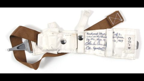 """This backpack strap held a personal life-support system for Charles """"Pete"""" Conrad, commander of the Apollo 12 mission, during both of his moonwalks in November 1969. The straps were custom-made for each astronaut, and Conrad kept his as a personal memento. It sold for $52,649."""