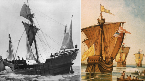 Left: A photograph, dated 1900, of a replica of explorer Christopher Columbus' flagship Santa Maria. Right: An illustration, dated 1754, of Christopher Columbus' fleet, the Nina, Pinta, and Santa Maria, departing from Spain in 1492.