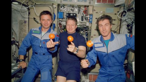 The first crew of the International Space Station, seen on board in December 2000. From the left are cosmonaut Yuri P. Gidzenko, astronaut William M. Shepherd and cosmonaut Sergei K. Krikalev.