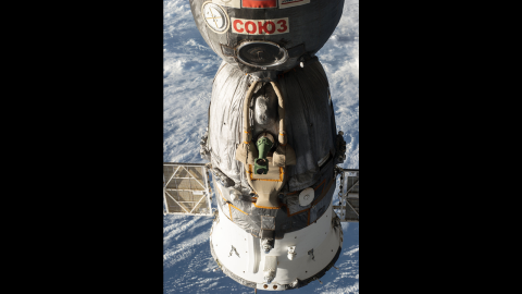 A Russian Soyuz spacecraft is docked with the space station on May 5. Since the U.S. shuttle program ended in 2011, all crew members are ferried to and from the space station on Russian rockets.
