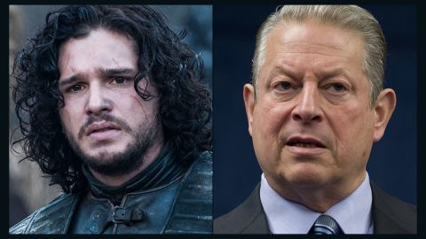 """<strong>Jon Snow / Al Gore: </strong>Snow, the bastard son of one of the show's most honorable characters, has better hair than Gore, but both shared the same mission. Snow is trying to warn his countrymen an environmental apocalypse is approaching; Gore tried to do the same with """"An Inconvenient Truth."""" His global warming message is still disputed by conservative media and many Americans. Their response: """"You know nothing, Al Gore."""""""
