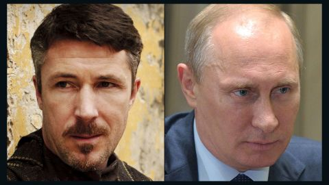 """<strong>Petyr """"Littlefinger"""" Baelish / Vladimir Putin:</strong> If Baelish could see Putin's deft maneuvering in Ukraine, he might smile in recognition of a kindred spirit in action. The diabolical adviser to the king is a master of using soft and hard power -- violence, appeals to honor, economic leverage -- to achieve results. Putin seized control of parts of Ukraine by taking advantage of the country's unrest. Both understand, as Baelish says, that chaos """"is a ladder"""" to power."""