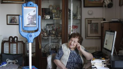 """""""Nonna Lea,"""" 94, is being assisted by the Giraffplus robot carer at her Rome apartment. """"It is very useful for older people who prefer to live in their own home where there are memories and comforts,"""" she said."""