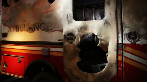 A destroyed New York City Fire Department ambulance from ground zero is on display.