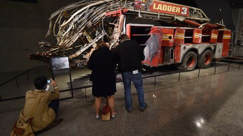 The remains of a New York City Fire Department Ladder Company 3 truck are on display outside the historical exhibition area. Eleven members of Ladder 3 died when the North Tower crumbled.