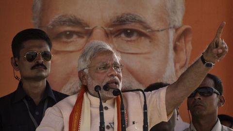 BJP leader Narendra Modi gestures during his speech at a rally by the leader on May 8 in Rohaniya, near Varanasi India.