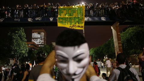 People gather in Rio de Janeiro to protest against this summer's World Cup on Thursday, May 15.