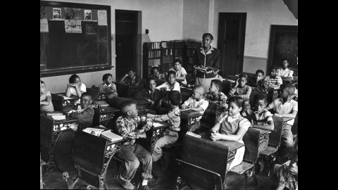 The Brown sisters attend class at Monroe Elementary School in 1953. Linda is on the front row on the right, and Terry Lynn is in the far left row, third from the front.