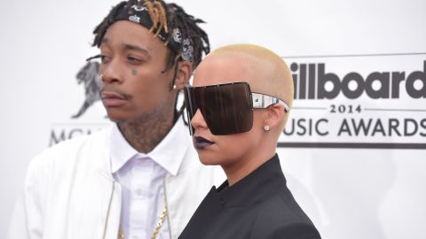 Wiz Khalifa and his wife Amber Rose on the red carpet of the 2014 Billboard Music Awards.