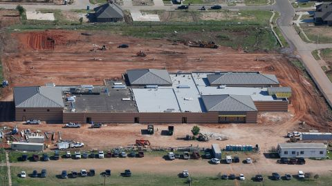 <strong>Now: </strong>The new Plaza Towers Elementary School is still under construction on May 15, 2014.