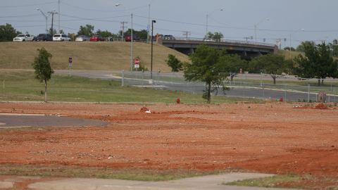 <strong>Now: </strong>An empty field remains at the site of the Moore Medical Center on May 18, 2014.