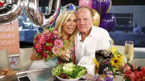 """Television personality Kathie Lee Gifford and former football player Frank Gifford had been married since 1986 until he died in 2015. In 1997, the couple's private life was thrust front and center when videotape emerged of an encounter between <a href=""""http://www.people.com/people/archive/article/0,,20122296,00.html"""" target=""""_blank"""" target=""""_blank"""">Frank and a flight attendant</a>."""