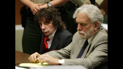 """Music impresario Phil Spector, left, <a href=""""http://edition.cnn.com/2009/CRIME/05/29/spector.sentencing/"""">was sentenced to 19 years to life in 2009 for the shooting death of actress Lana Clarkson. </a>"""