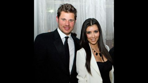 """What could Nick Lachey and Kim Kardashian possibly have in common? Well, in 2006 they were both single and looking for love. This pairing, which occurred roughly six months after Lachey's breakup with Jessica Simpson, was basically one viewing of """"The Da Vinci Code"""" and done. Lachey is pretty convinced Kardashian <a href=""""http://www.details.com/celebrities-entertainment/music-and-books/201305/nick-lachey-98-degrees-tour"""" target=""""_blank"""" target=""""_blank"""">used the date to gain publicity. </a>"""