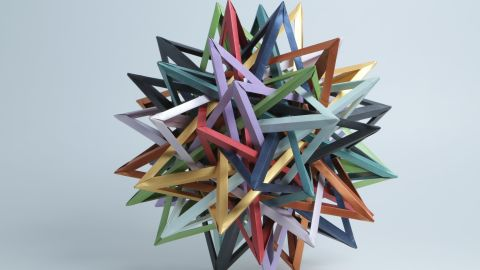 """American origamist Byriah Loper created this work of modular origami. As Nguyen explains, """"Modular origami uses multiple sheets of paper, folded into identical units, and takes these units and interlocks them, without cuts or adhesive, to obtain a final form that is usually very angular and representative of geometric solids."""""""