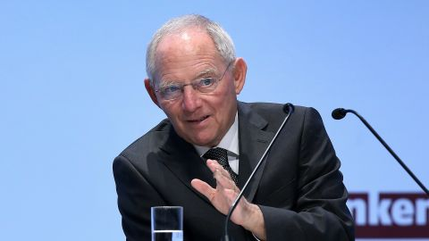 German Finance Minister Wolfgang Schaeuble delivers a speech on April 9, 2014, in Berlin.