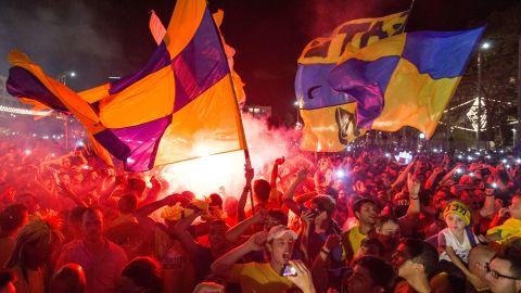 Maccabi Tel Aviv fans celebrate their team's win in Kikar Rabin or Rabin Square in Tel Aviv, on May 19, 2014.