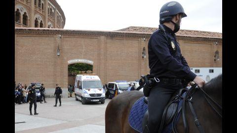 An ambulance leaves Las Ventas bullring.