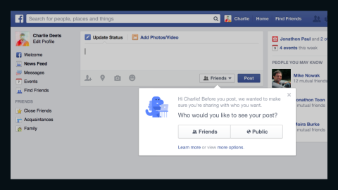 """On Thursday Facebook bowed to privacy concerns by making new users' privacy settings default to """"Friends"""" instead of """"Public."""" The new feature also walks existing users through privacy settings, letting them make changes if they so desire. Read on for more stats about Facebook, which turned 10 in February."""
