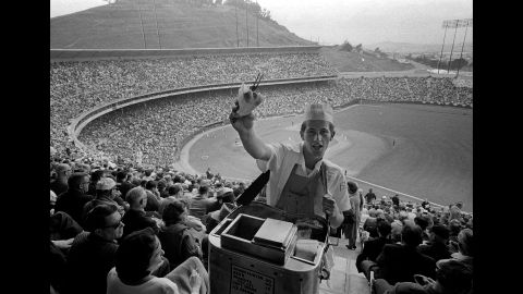 A vendor sells hot dogs at Candlestick Park in 1965 for the San Francisco Giants' season-opening home game against the Pittsburgh Pirates.