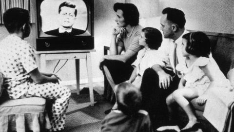 circa 1962:  A family watching President John Kennedy on television.  (Photo by MPI/Getty Images)