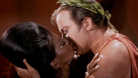 """In 1968 """"Star Trek"""" actors Nichelle Nichols and William Shatner performed the first interracial kiss on American TV."""